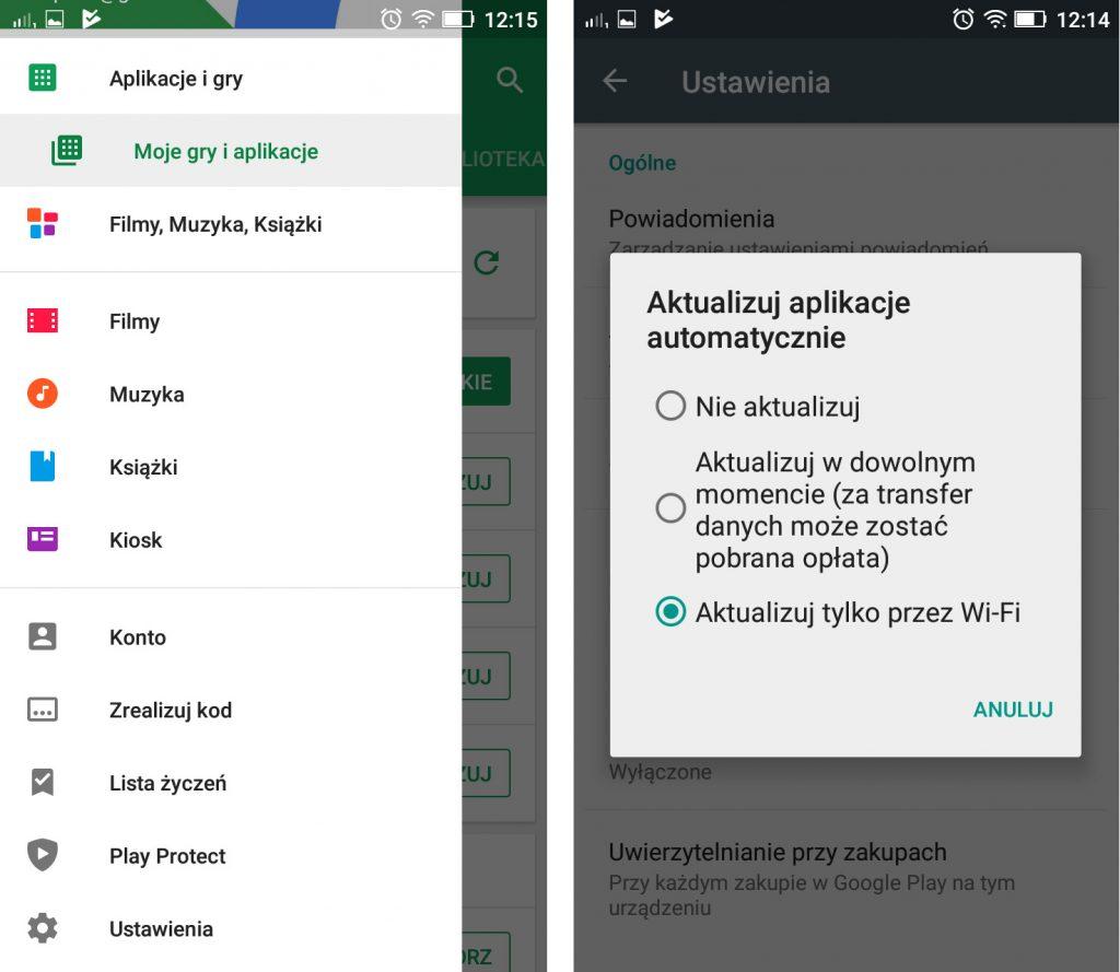 aktualizacje w Google Play
