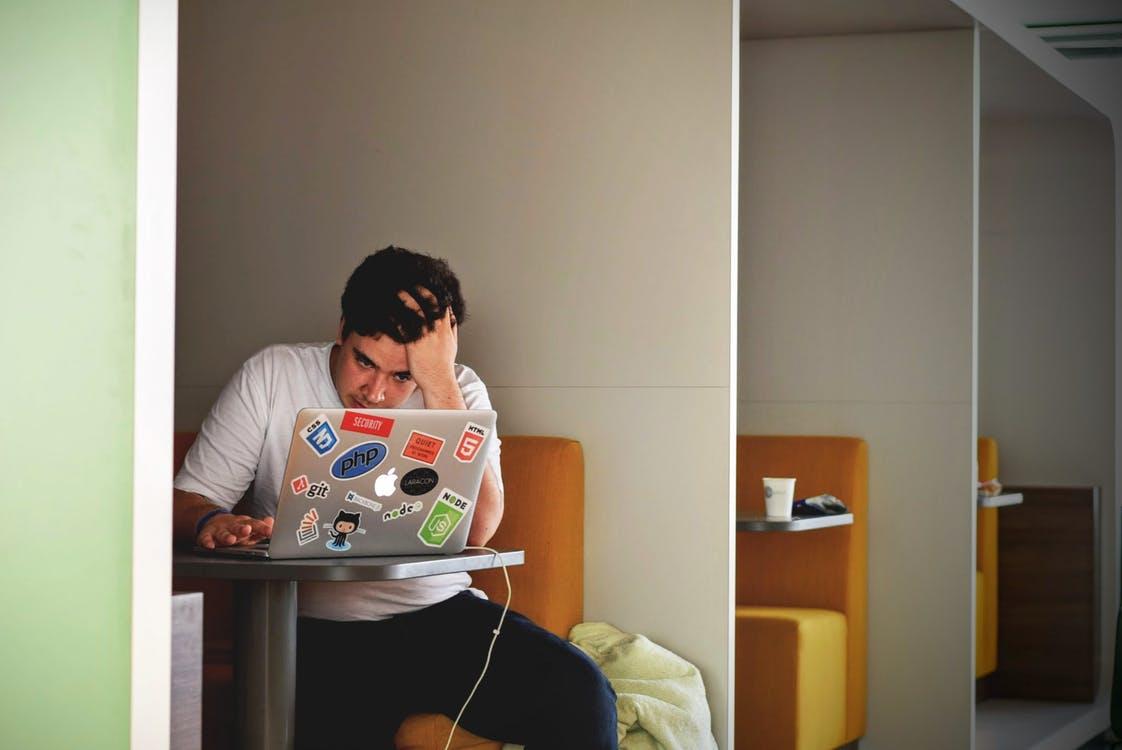 Guy working on Social Media