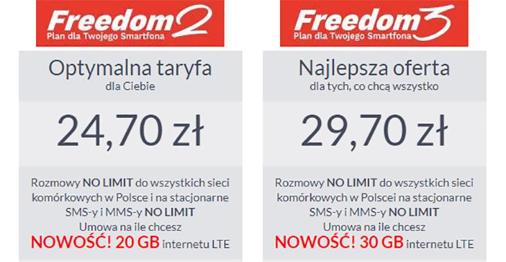 Freedom2 i Freedom3 oferta