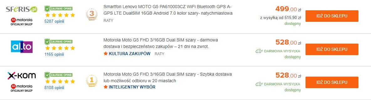 Motorola Moto G5 cena