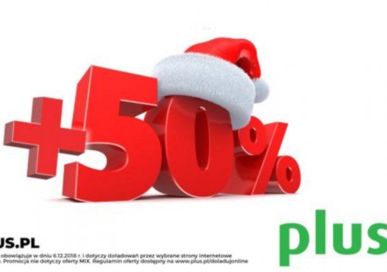 Tylko dziś 50% więcej za doładowanie w Plusie