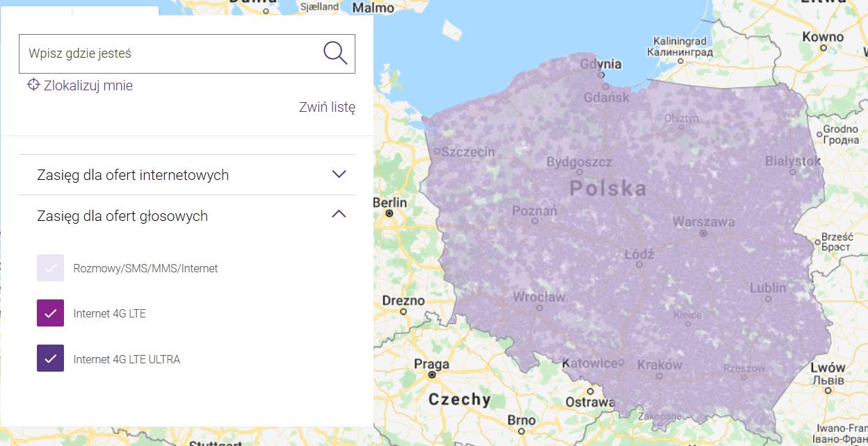 mapa zasięgu Play