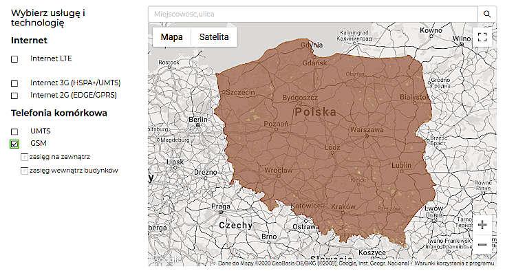 mapa zasięgu Plus
